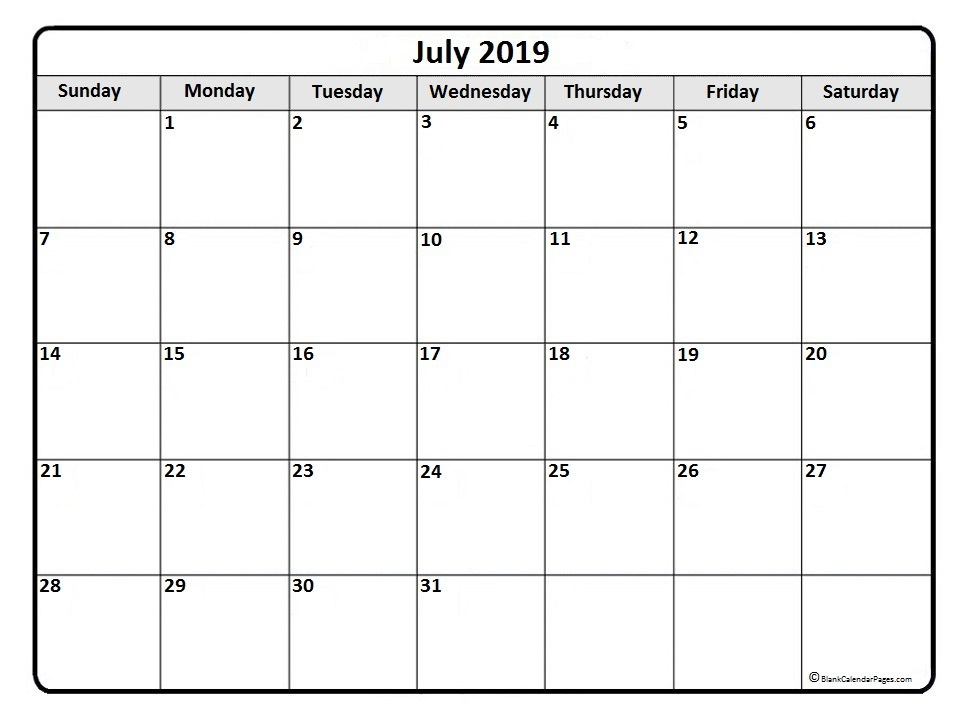 picture about Free Printable Monthly Calendar With Holidays identified as Printable Month to month Calendar July 2019 - Free of charge Printable
