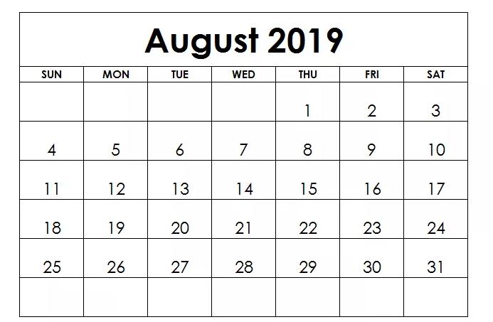 2019 August 2019 Printable Calendar Editable