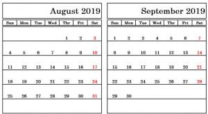2019 August September Calendar