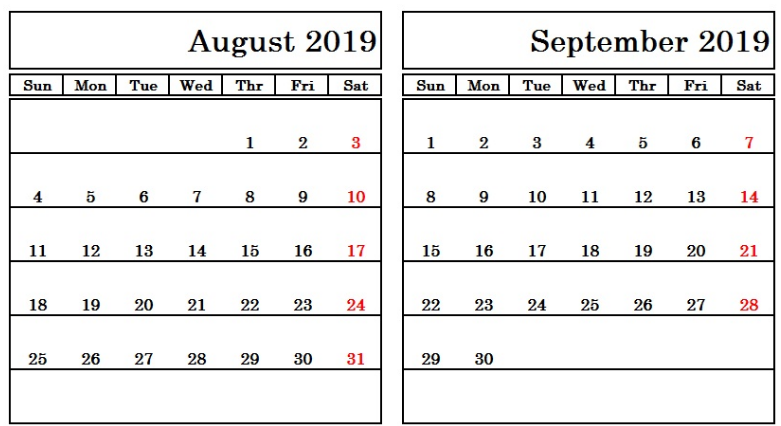Sept 2019 Calendar Printable.Free August September 2019 Calendar Printable Editable Pdf Word Download