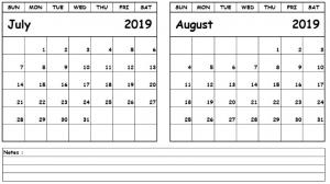 2019 July August Calendar