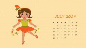 2019 July HD Calendar Wallpaper