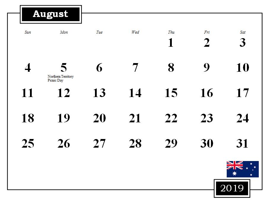 August 2019 Australia Holidays Calendar
