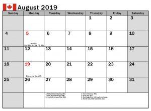 August 2019 Calendar Canada With Holidays