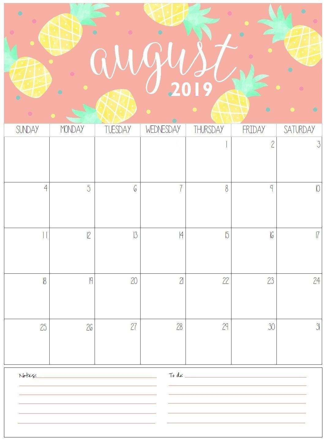 August 2019 Calendar Cute