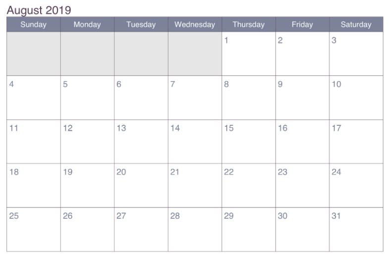 August 2019 Calendar Editable Template