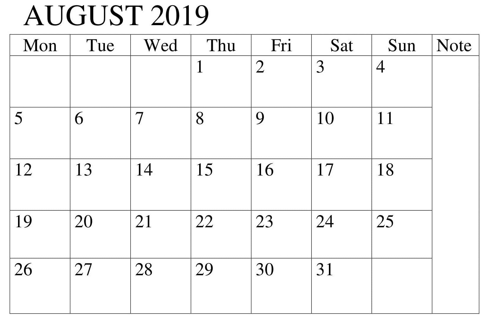 August 2019 Calendar Editable