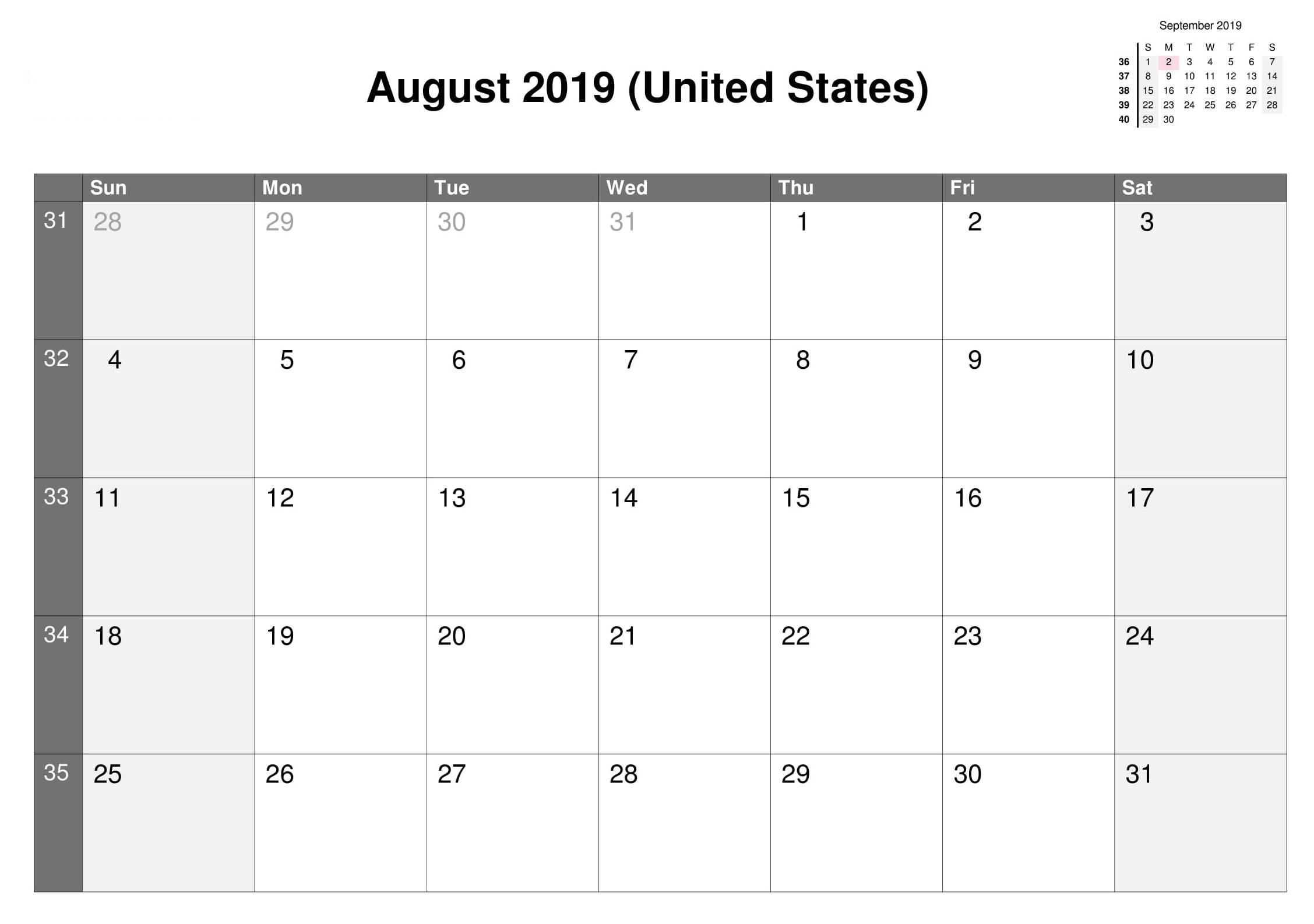 August 2019 Calendar US Federal Holidays