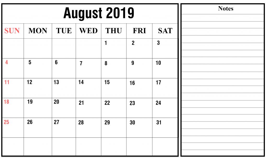 August 2019 Editable Calendar Printable