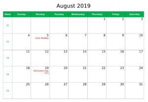 August 2019 Federal Holidays Calendar