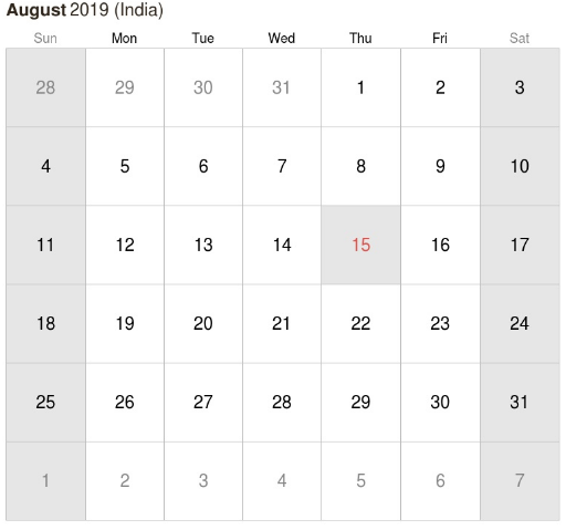 August 2019 Indian Holidays Calendar