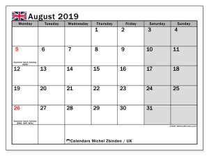August 2019 UK Bank Holidays Calendar