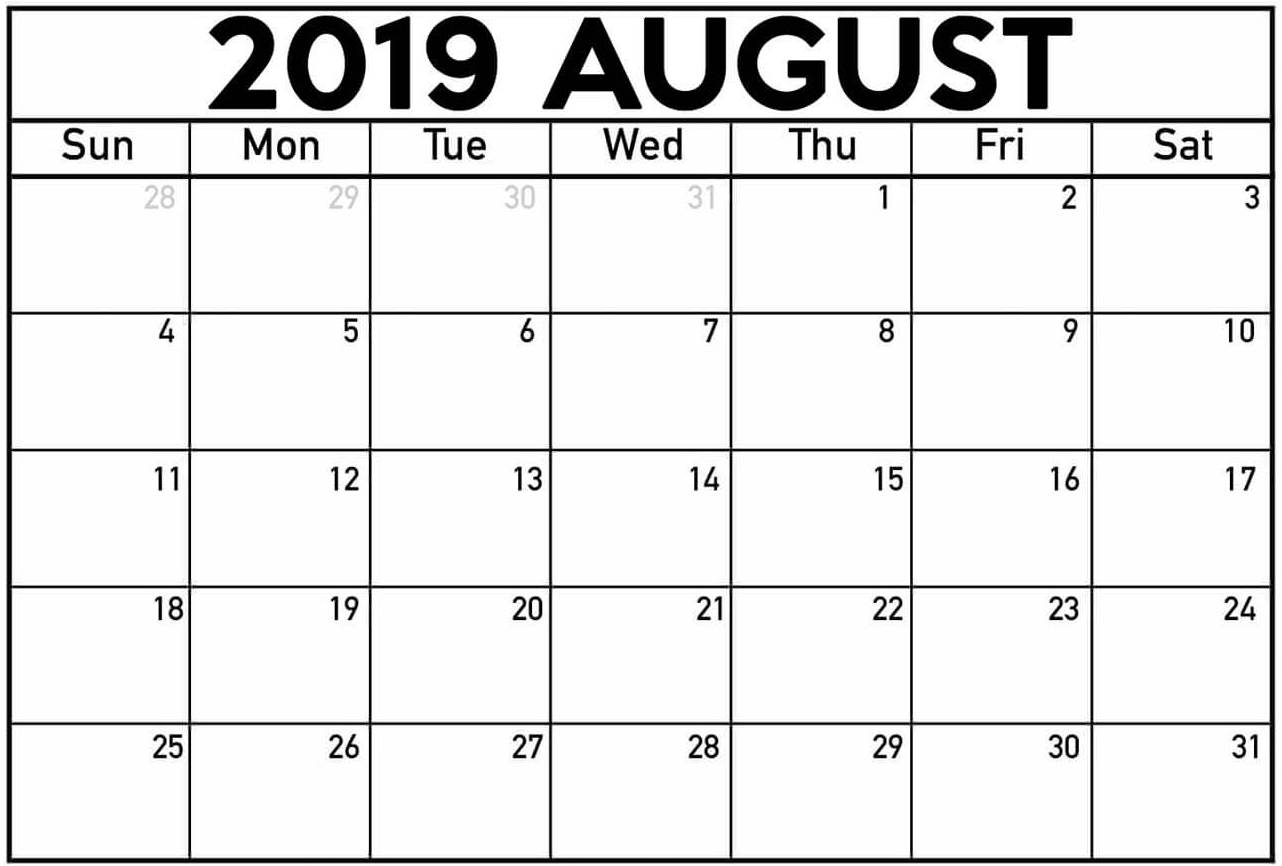 August Blank Calendar 2019