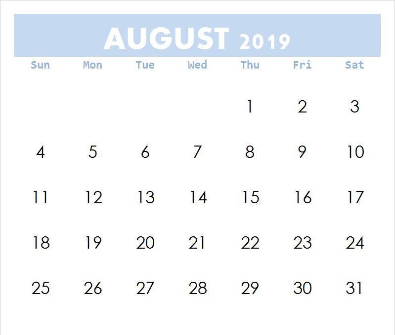 August Calendar Word 2019 Editable Template