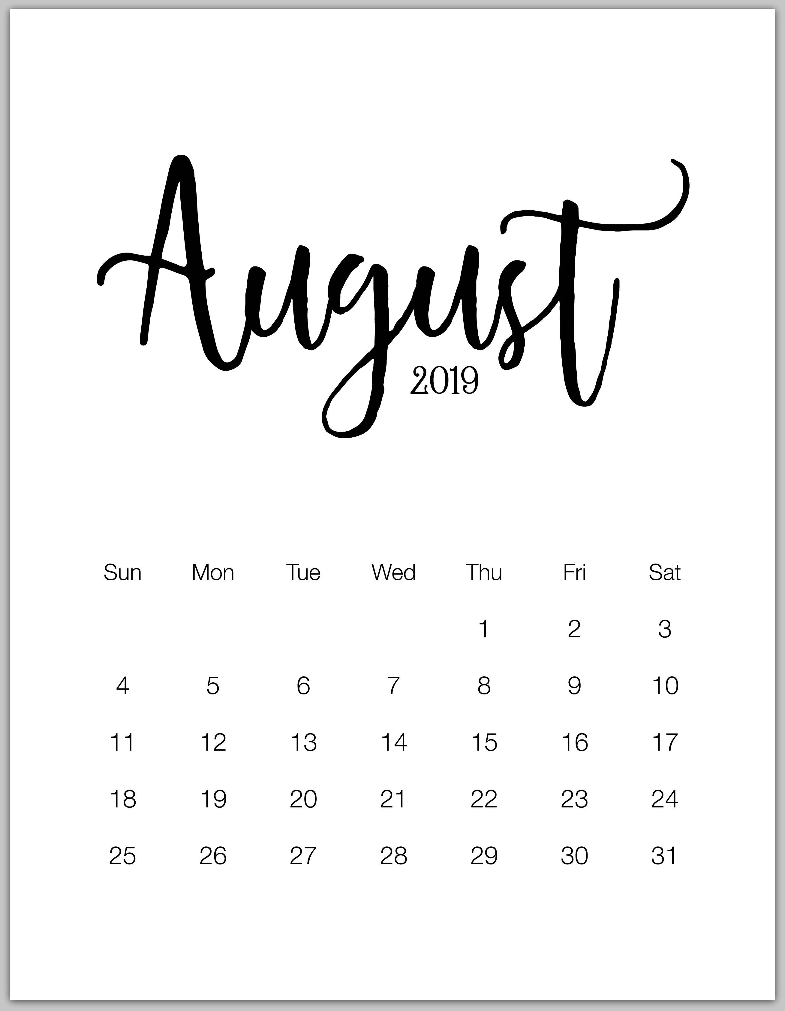 August Portrait Calendar 2019