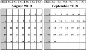 August September 2019 Calendar PDF