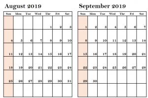 August September 2019 Calendar Printable