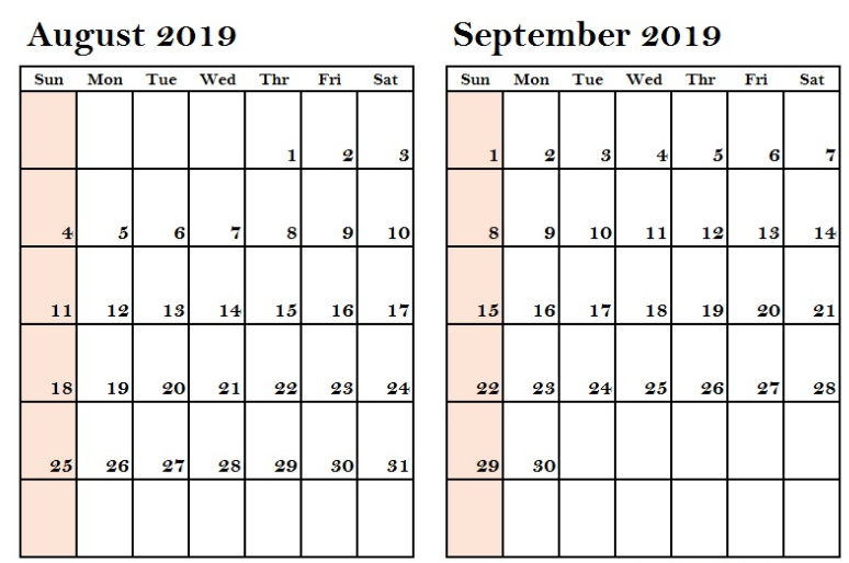 image relating to Free August Calendar Printable referred to as August September 2019 Calendar Printable - Totally free Printable