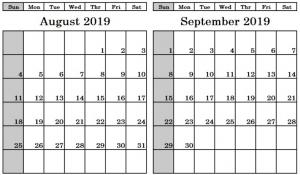 August September 2019 Calendar Template