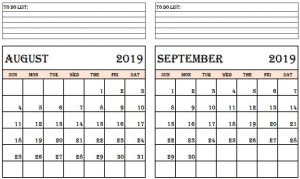 August September 2019 Calendar with Notes