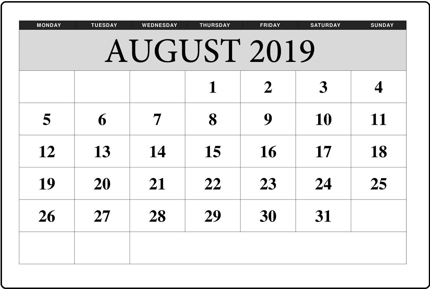 Blank August 2019 Editable Calendar