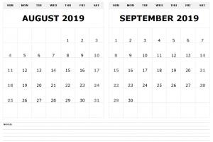 Blank August September 2019 Calendar
