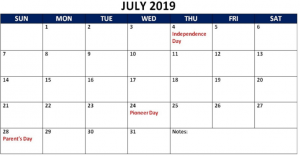 Blank Calendar July 2019 With Notes