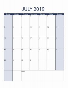 Blank Calendar Pages July 2019