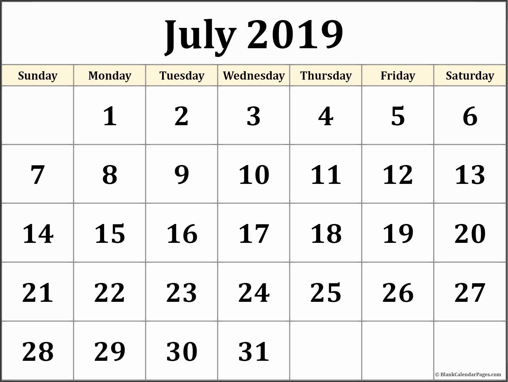 Blank Calendar Template July 2019