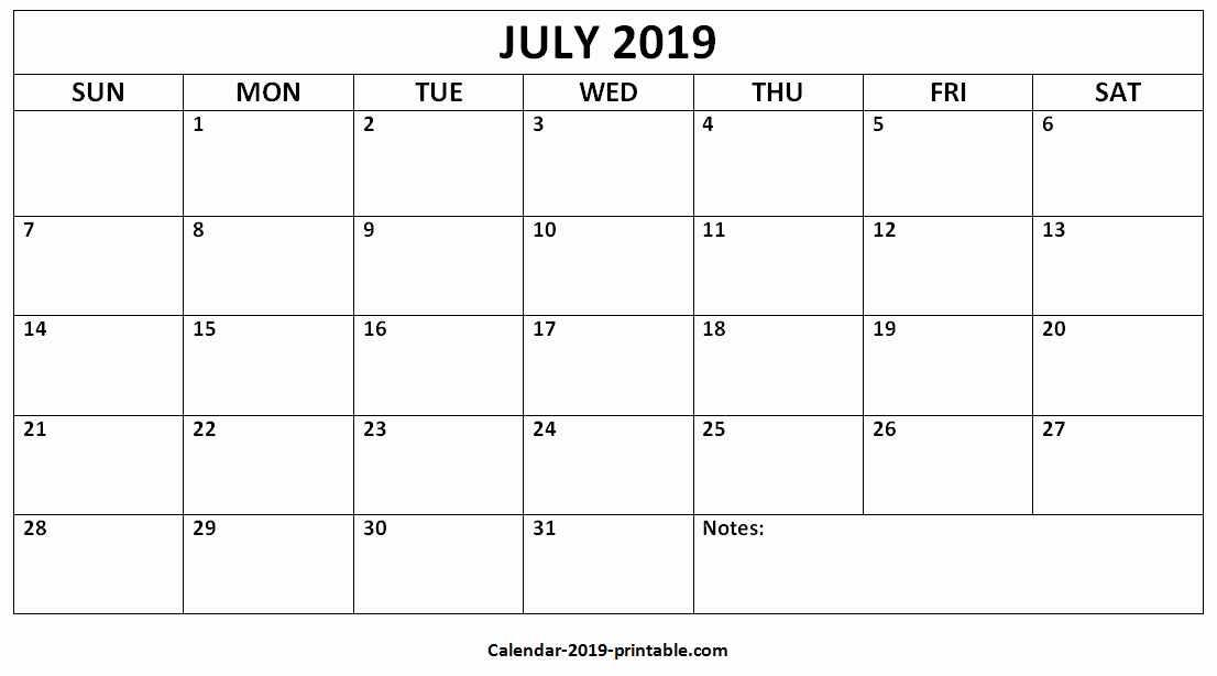 Blank June 2019 Printable Calendar.Free Printable July 2019 Calendar Template Blank With Notes