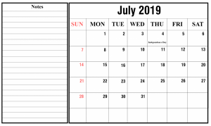 Blank July Calendar 2019 With Notes