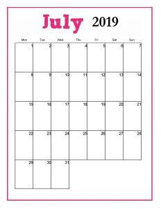 Blank Monthly Calendar July 2019