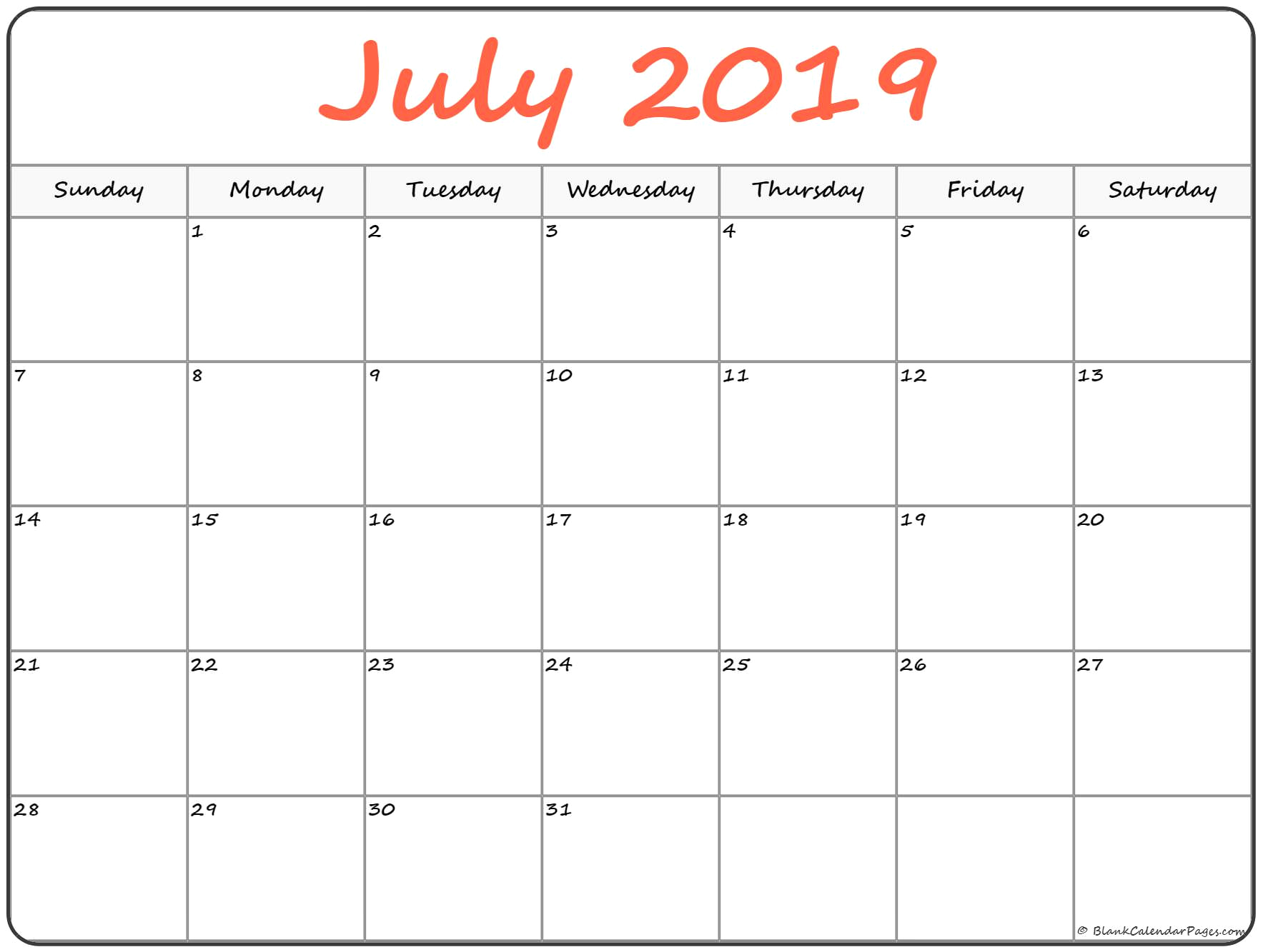 July Calendar.July Calendar 2019 Printable Blank Template With Editable Notes