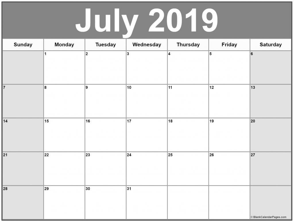Calendar Template July 2019