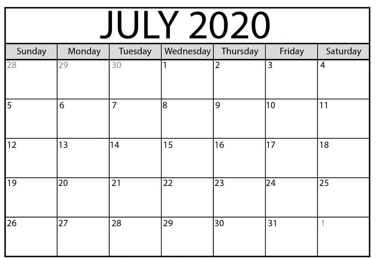 Customizable July 2020 Calendar Template