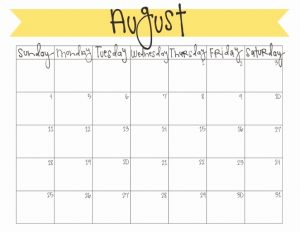 Cute August 2019 Calendar Printable