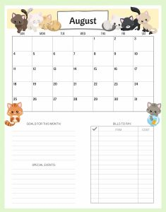 Cute August 2019 Calendar for Kids