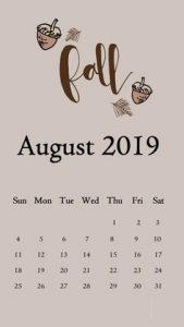 Cute August 2019 iPhone Calendar Wallpaper