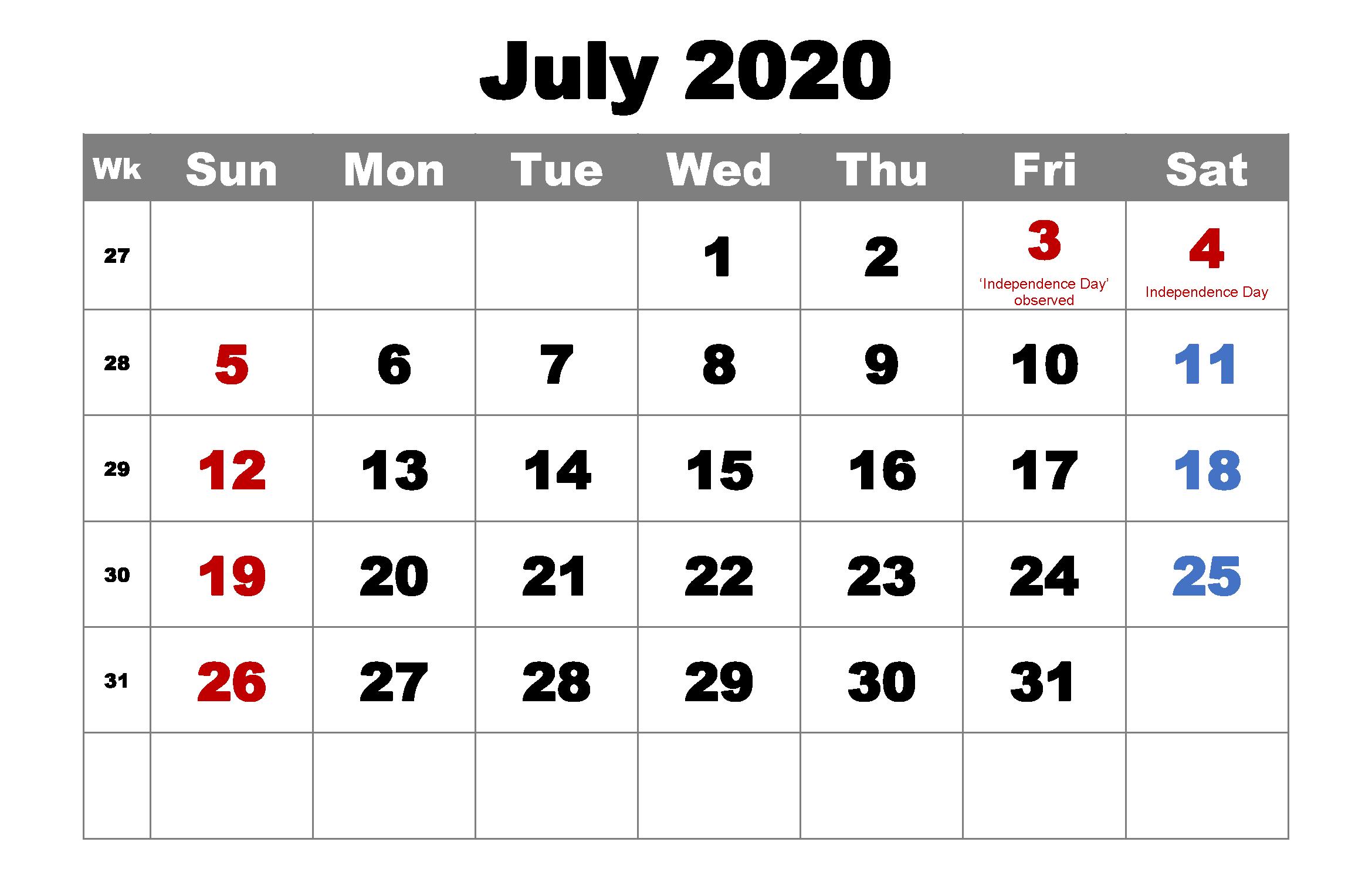 Cute July 2020 Calendar Template