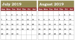 Cute July August 2019 Calendar