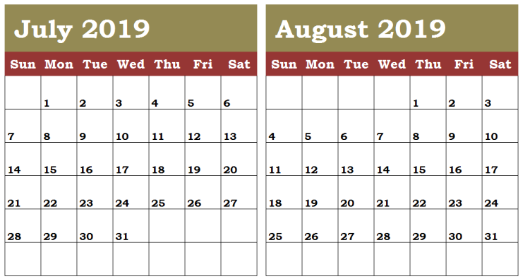 June July August 2019 Calendar Printable.Free July August 2019 Calendar Printable Editable Pdf Word Download