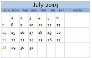 Cute July Blank Calendar 2019