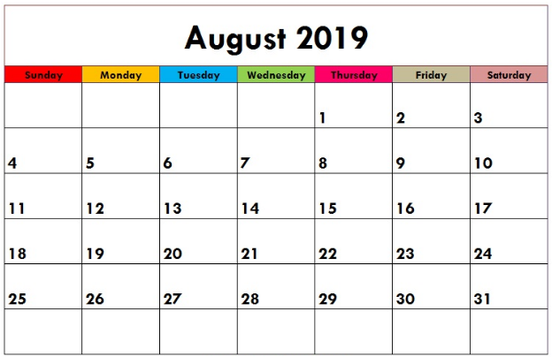 Decorative August 2019 Calendar for Kids