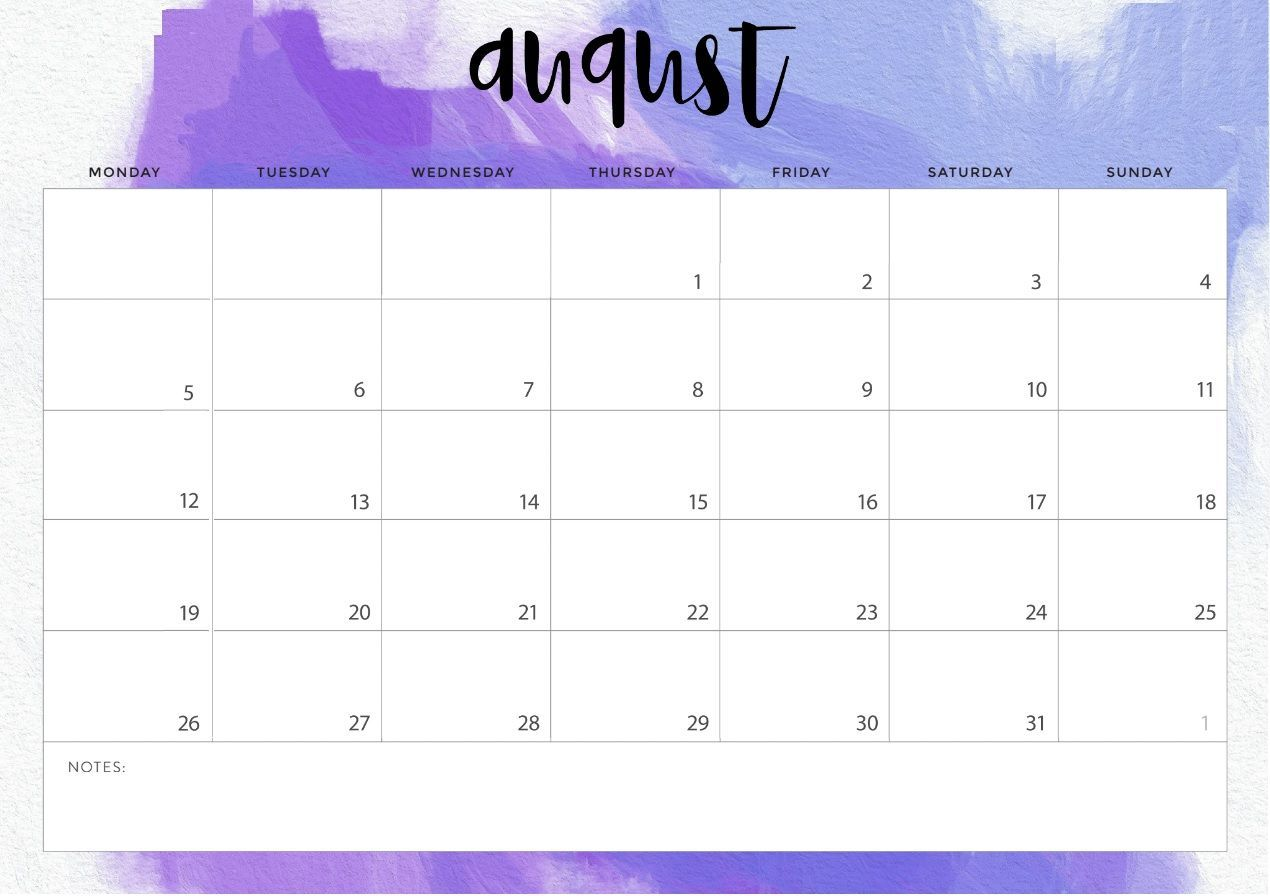 photo relating to Printable August Calendar called Table Calendar August 2019 - Absolutely free Printable Calendar