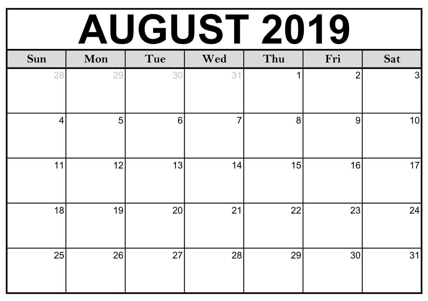 Editable August 2019 Calendar Blank Template
