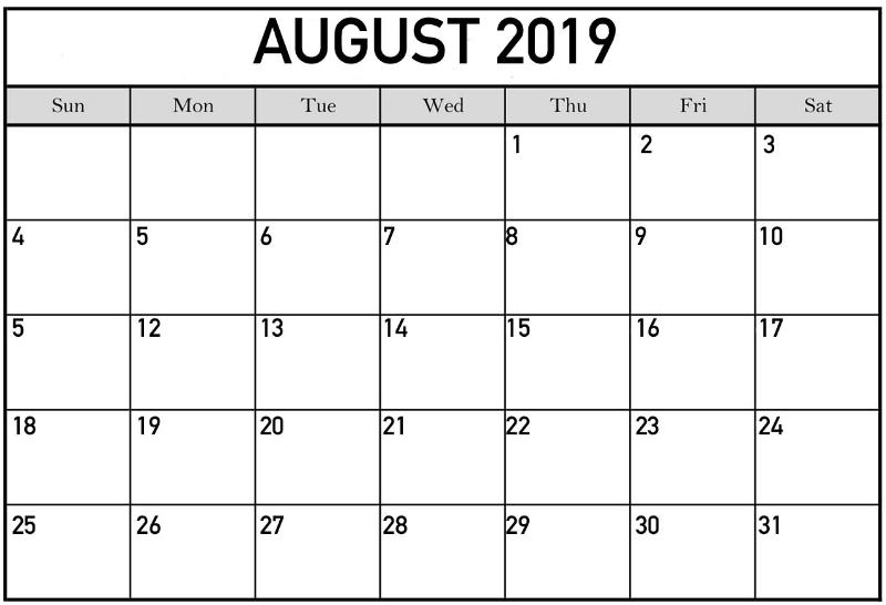 Editable August 2019 Calendar PDF