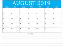 Editable August 2019 Calendar With Notes
