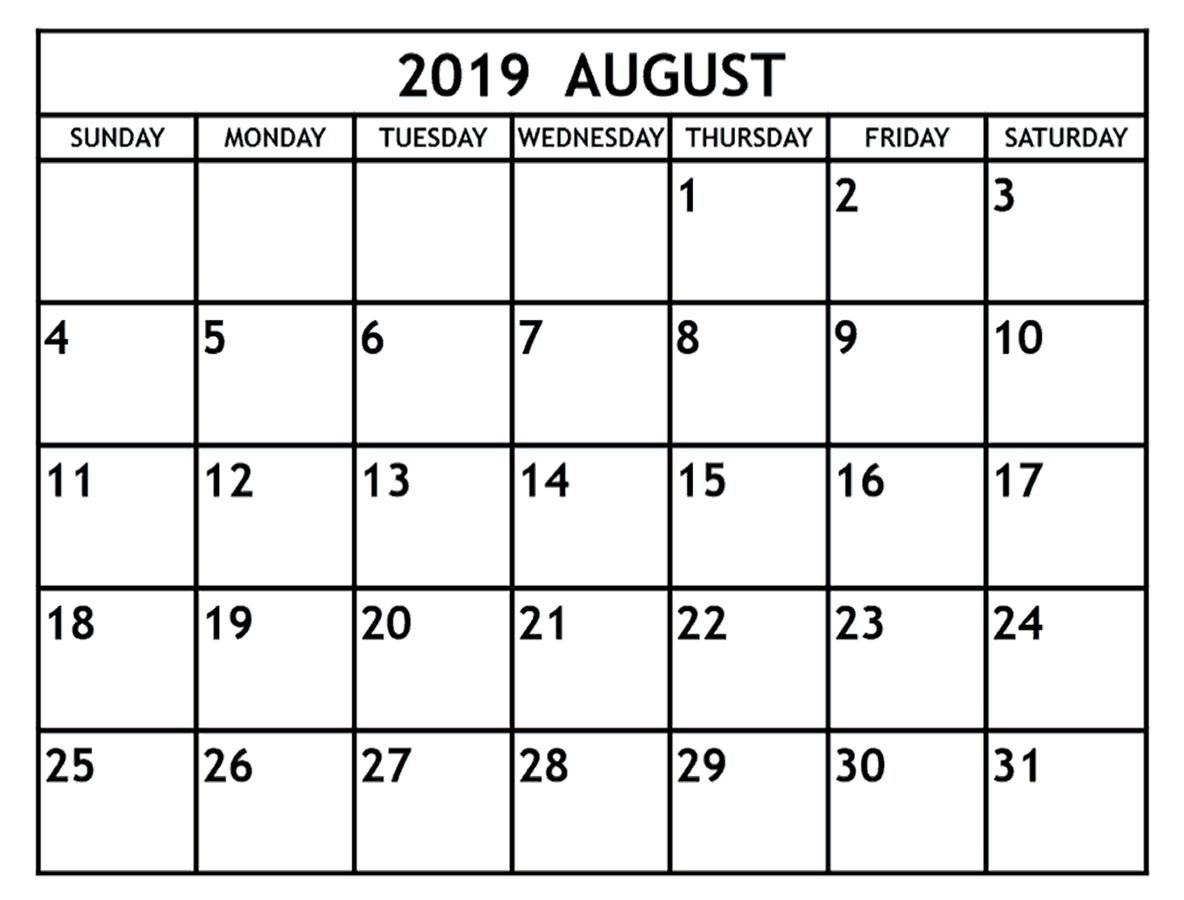 Editable August 2019 Calendar Word