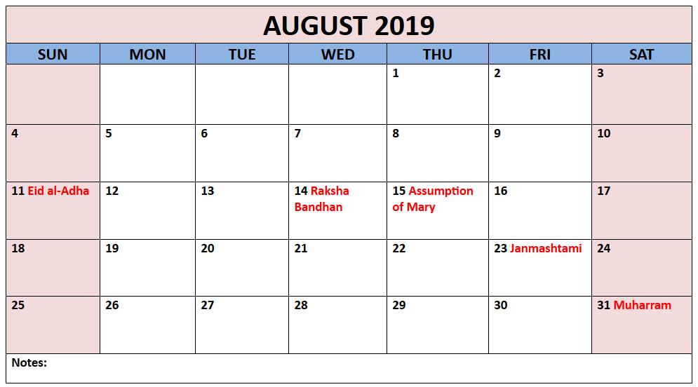 Editable August 2019 Holidays Calendar