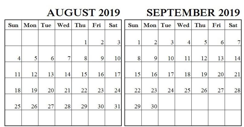 Editable August September 2019 Calendar